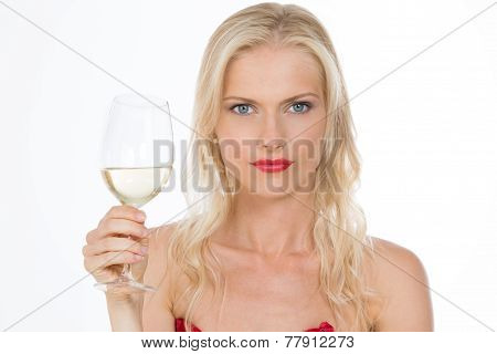 Nordic Dressed Red Girl Keeping A Glass Of Wine