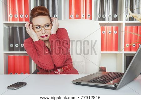 Business Woman Scared Working With Computer