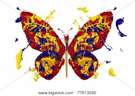 Paint And Painbrush Made Conceptual Butterfly