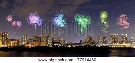 Fireworks Celebrating Over Odaiba, Tokyo Cityscape At Night