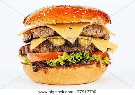 Hamburger .sandwich With Beef And Cheese