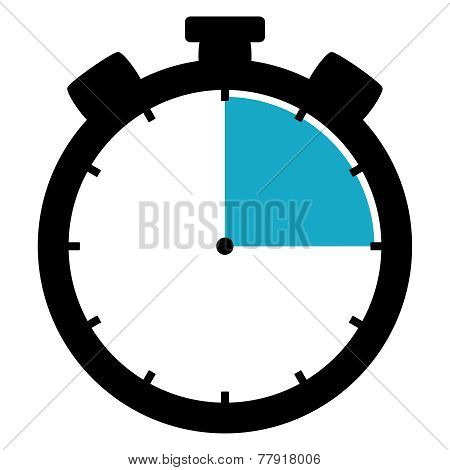 Symbol of a black Stopwatch Icon showing 15 Minutes 15 Seconds or 3 Hours poster