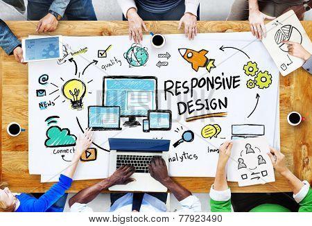 Responsive Design Internet Web Business People Meeting Concept