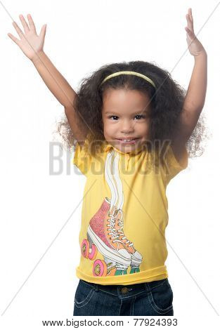 Pretty african american small girl raising her arms above her head and smiling isolated on white