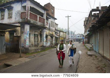 Teenagers go to school in Puthia Bangladesh.