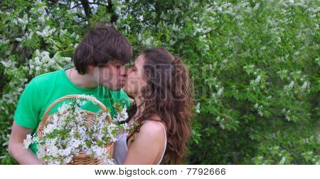 Young couple kissing in the garden