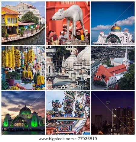 Set of photos of Malaysia - Kuala Lumpur, Malacca City, Johor Bahru landmarks - Mosque, Statues, Historical buildings, Skyscrapers poster