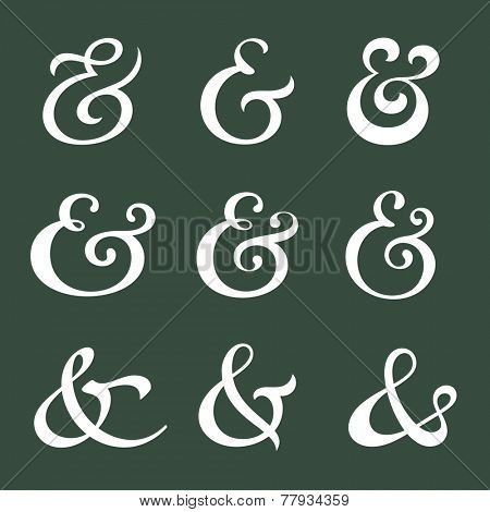 Custom decoration ampersands for wedding invitation. Polished hand drawn type. Vector illustration