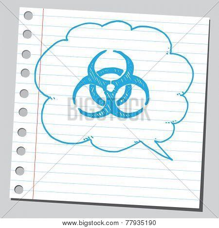 Bio hazard symbol sketch in comic bubble