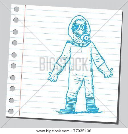 Man in bio hazard protection suit