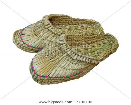 Few Straw Bast Sandals Isolated