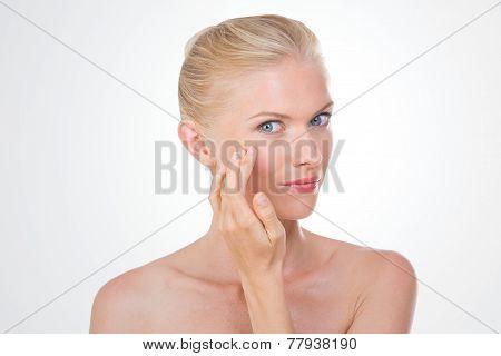 Nordic Beauty Checking Her Eye