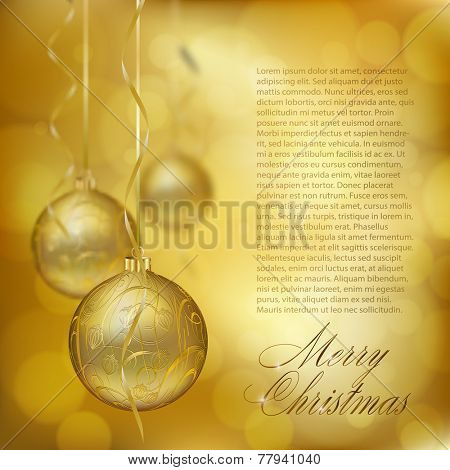 Golden Christmas balls on abstract gold background. Xmas greeting card. Vector eps10 illustration