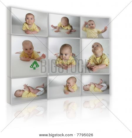 Collage On White Background As Tv From Many Photos Child