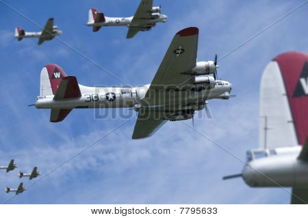 USAF B17s on a daylight bombing raid over Europe. poster