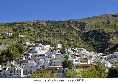 Overview of Torvizcon small Moorish village in Las Alpujarras. Granada Spain