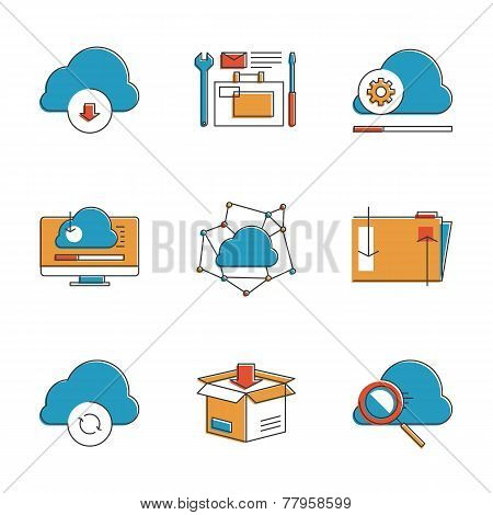 Cloud Computing Line Icons Set