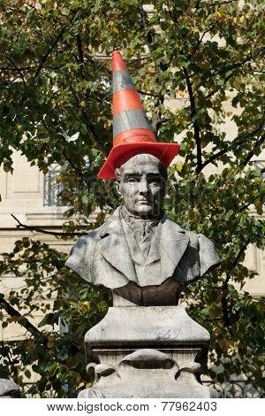 Paris - Sorbonne Square. Monument of Auguste Comte french philosopher
