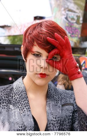 Young Model With Red Leather Glove