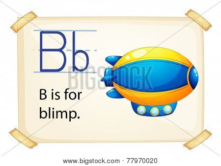 Illustration of letter B is for blimp