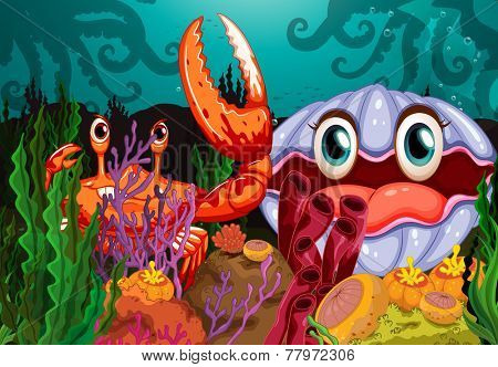 A big crab and a clam under the sea