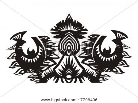 black birds and flowers