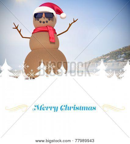 Christmas greeting card against festive sandman on the beach