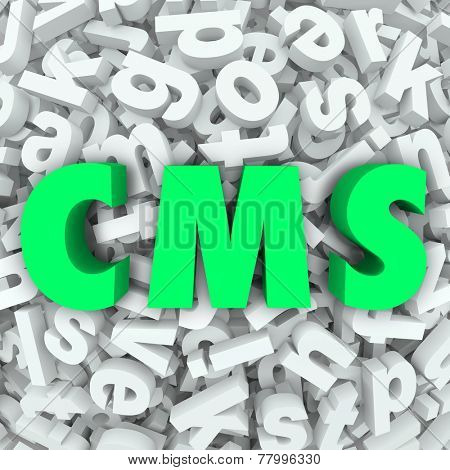 CMS letters in acronym for Content Management System organizing articles, data and information on a website or internet online resource