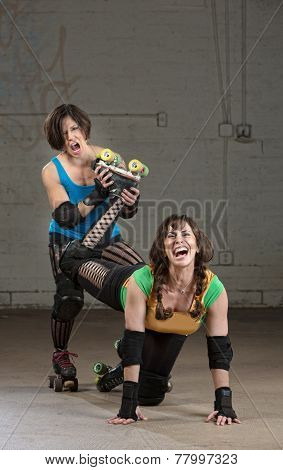 Bully roller derby skater twisting the leg of a woman poster