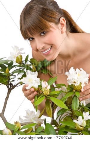 Gardening - Portrait Of Woman With Rhododendron Flower