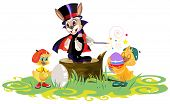 Rabbit magician and chickens dyed eggs for Easter poster