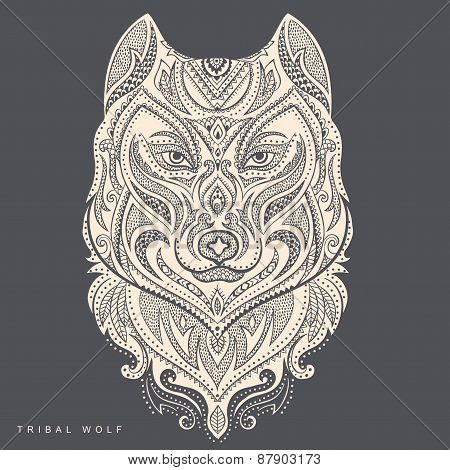 Vector tribal style wolf totem tattoo
