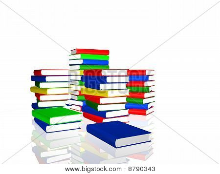 Piles Of Color Books Over White Background