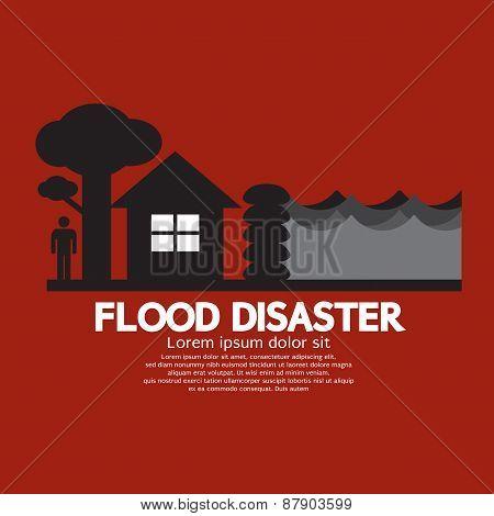 Flood Disaster With Sandbag Barrier.