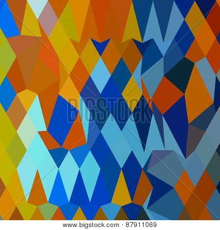 Cerulean Blue Harvest Gold Abstract Low Polygon Background