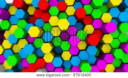 Abstract Tech Background With Many Colored Hexagons