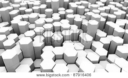 Abstract Tech Background With Many White Hexagons