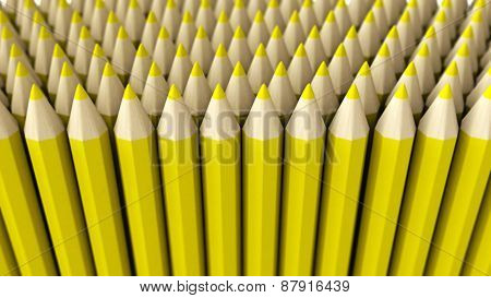 A Pile Of Yellow 3D Crayon On A White Background