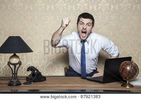 very angry business man screaming in the office poster