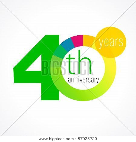 40 years old round logo. Anniversary year of 40 th vector chart template medal. Birthday greetings circle celebrates. Celebrating numbers. Colorful digits. Figures of ages, cut sections. Letter O green.