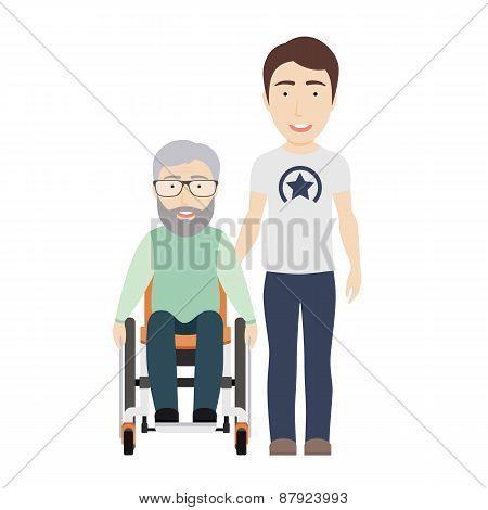 Boy Helps Grandpa