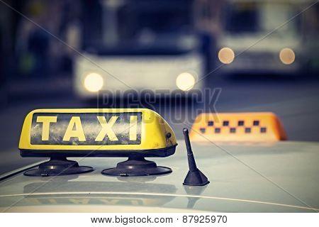 Emblem Taxi With A Digital Retro Effect
