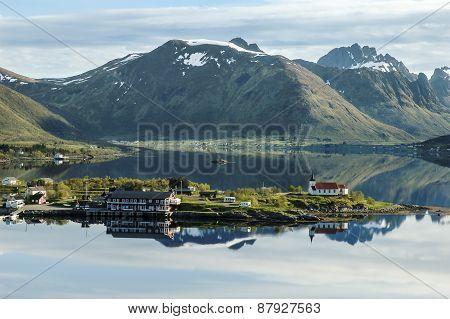 Vestpollen Chapel In Austnesfjord, Lofoten Islands, Norway, Scandinavia, Europe