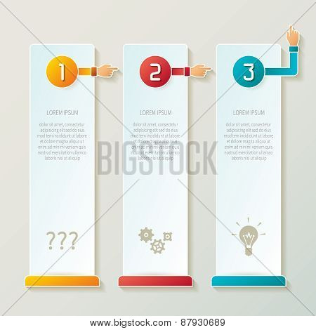 Abstract Vector 3 Steps Infographic Template In 3D Style For Layout Workflow Scheme, Numbered Option