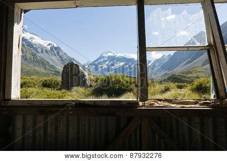 Mount Cook Through Hut Window.
