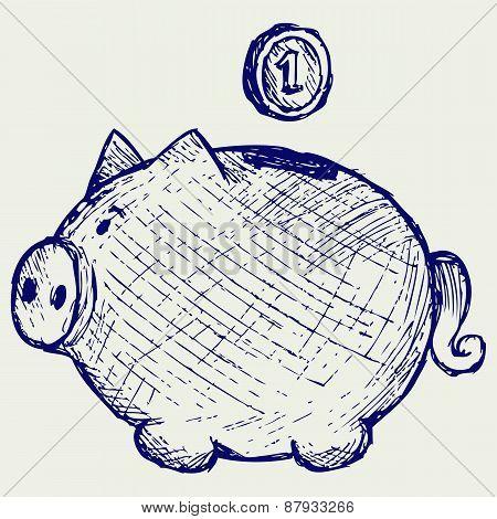 Gold coin fall into a piggy bank
