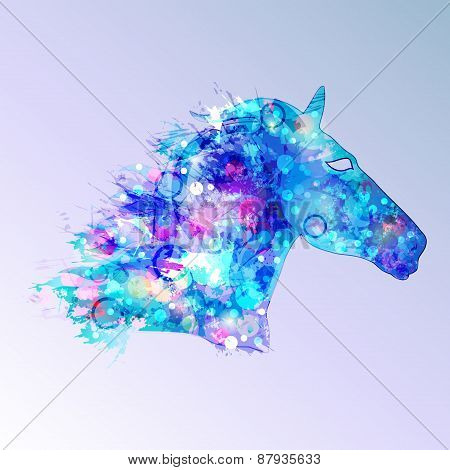 Horse Illustration In Blue Tones