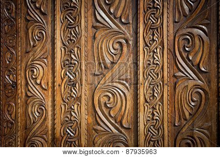 Abstract Floral Decoration Carved On A Wood Door