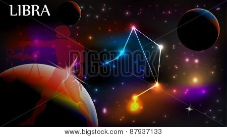 Libra - Space Scene with Astrological Sign and copy space