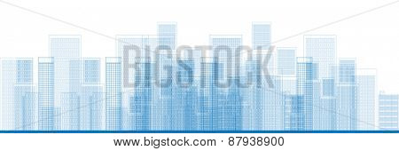 Outline City Skyscrapers in blue color